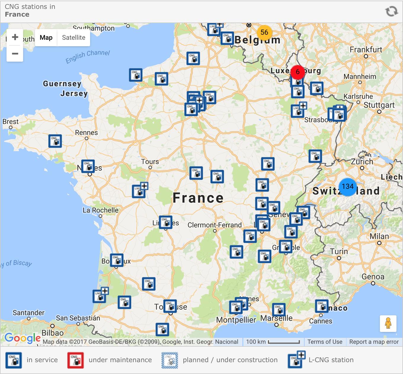 carte station hydrogene france Stations service CNG en route vers le soleil (Europe du Sud)