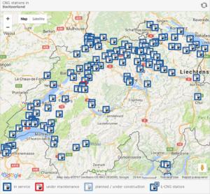 Stations-service CNG en Suisse